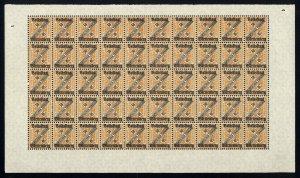 w33 Wurttemberg Scott #O158 30pf orange & blk Mint OG NH full pane of 50 Scarce