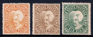 India (Sirmoor) - Scott #3//5 - MH - Thin, crease and toning on #5 - SCV $10