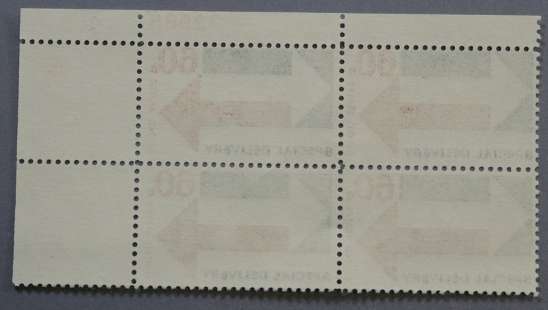 United States #E23 60 Cent Special Delivery Plate Block of Four MNH