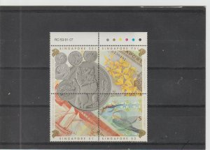 Singapore  Scott#  644a  MNH Block of 4  (1992 Currency, Notes and Coins)