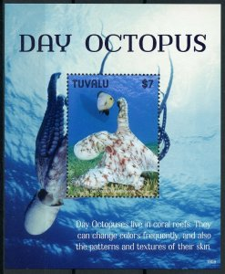 Tuvalu 2019 MNH Day Octopus 1v S/S Corals Molluscs Marine Animals Stamps