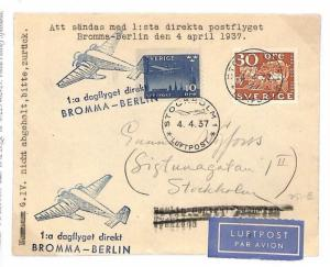 SWEDEN AVIATION 1937 FFC Bromma GERMANY Berlin Air Mail First Flight Cover BE154