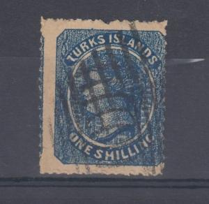 Turks Islands QV 1867 1/- Blue SG3 Fine Used J3428