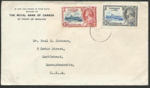 ST KITTS NEVIS 1935 cover to USA, Jubilee 1d & 1½d, St Kitts cds...........53095