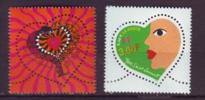 J20362  jlstamps 2000 france mnh set #2750-1 hearts perf 13