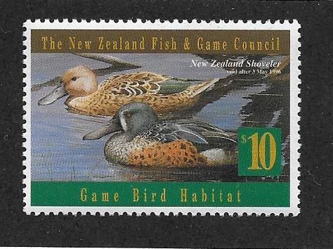 New Zealand,Duck Stamp Very Fine,  1994 stamp valued @ Face  $10.00
