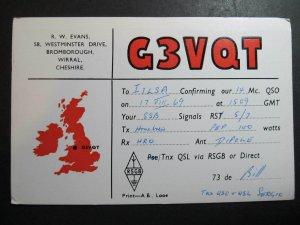 10399 Amateur Radio QSL Card BROMBOROUGH WIRRAL CHESHIRE ENGLAND