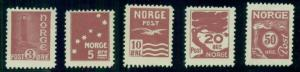 NORWAY Early ESSAYS, 3ore to 50ore in brown, og, LH, VF