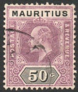 MAURITIUS-1910 50c Dull Purple & Black Sg 191 GOOD USED V43017