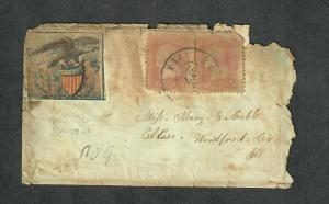 Glued On Eagle+Shield Sc#64b x2 Nashville 1862 Union Patriotic Cover