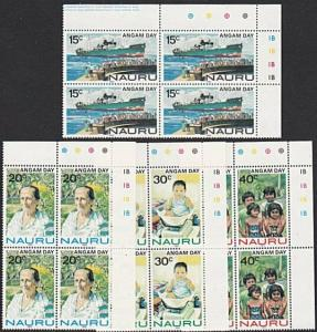 NAURU 1983 Angam Day set plate blocks of 4 MNH.............................57692