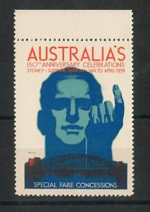 VINTAGE  POSTER STAMP Label - AUTRALIA: 150th ANIVERSARY CELEBRATIONS 1938