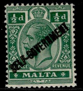 MALTA GV SG106, ½d green, LH MINT.