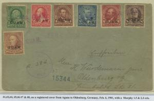 GUAM #1-9 ON COVER TO OLDENBURG, GERMANY FEB 6,1901 CV $2,625 BS8476 HS108G