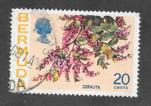 Bermuda Scott #323 Used 20c Coralita Flower 2017 CV $4.00
