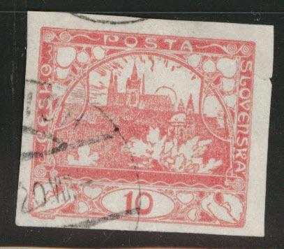 CZECHOSLOVAKIA Scott 3 Used imperforate stamp
