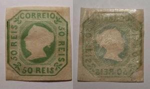 Portugal 1853 Queen Maria II 50R green Mi.3 mint+gum signed margin reinforced...