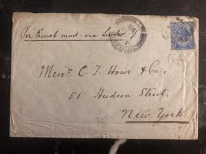1915 Singapore Straights Settlements Cover To New York USA Via London