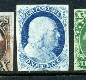 9 Franklin Unused Imperf Stamp Pos. 57L1L with PF Cert (9-39) *Double Transfer*