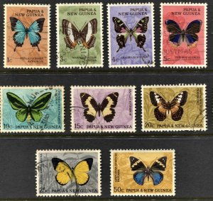 STAMP STATION PERTH Papua New Guinea #209-213,215-218 Butterflies Used CV$12.00
