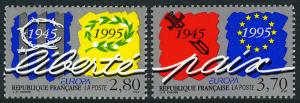 France 2473-2474, MNH. EUROPA. Peace and Freedom. End of WW II, 50th anniv. 1995