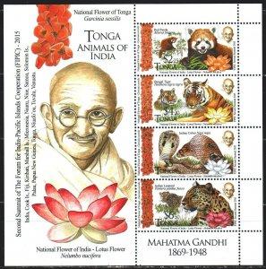 Tonga. 2016. bl 100. Fauna, Gandhi. MNH.