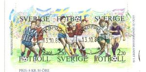 Sweden Sc 1708a 1988 Soccer stamp booklet pane used