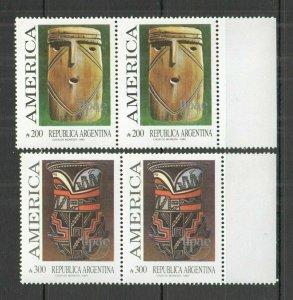 P1131 1989 ARGENTINA CULTURE PREHISTORIC ART & CRAFT UPAEP AMERICA 2SET FIX