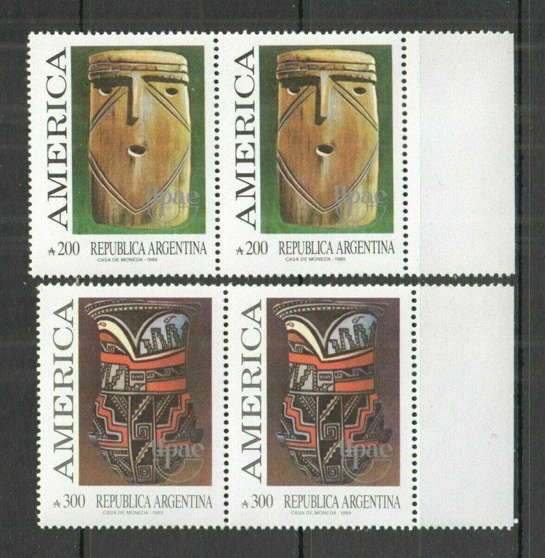 AB1389 1989 ARGENTINA CULTURE PREHISTORIC ART & CRAFT UPAEP AMERICA 2SET FIX