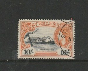 St Helena 1953/9 QE2 Def 10/- FU SG 165