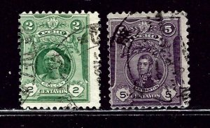Peru 178 and 180 Used 1909 issues    (ap3019)