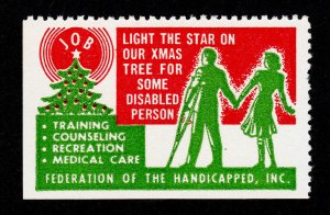 USA VINTAGE POSTER STAMP XMAS SEAL FEDERATION OF THE HANDICAPPED INC