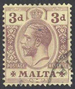 Malta Sc# 54 Used 1914-1921 3p King George V