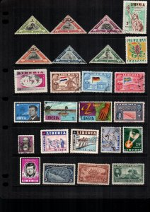 Liberia  24  diff used and mint lot collection