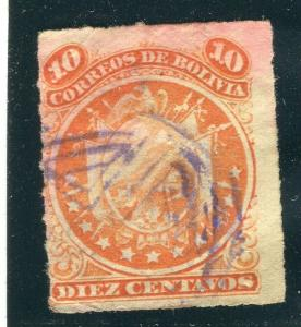 BOLIVIA; 1887 classic rouletted issue used 10c. value
