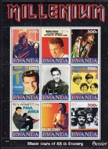 THE BEATLES - ROLLING STONES - PAUL ANKA  Sheetlet (9) MNH 1999 Rwanda