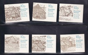 GB BK # 226 VF-MNH 6 DIFFERENT COVERS BOOKLETS PO FRESH