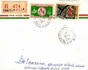 Ivory Coast 5F Water Chevrotain and 85F ITU 1966 Treichville, Cote d'Ivoire A...