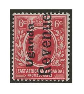 Uganda | KUT 1918 KGV Revenue 6c Red Fine Barefoot #63 CV £5.00