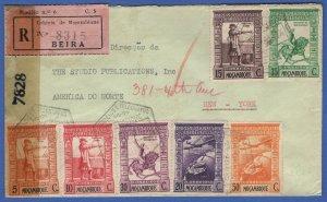 MOZAMBIQUE Portugal 1944 Reg. Censored Cover BEIRA to USA, Beautiful!