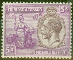 Trinidad & Tobago 1922 5s Dull Purple & Mauve SG228 Fine Very Lightly Mtd Mint