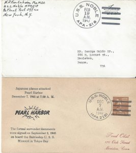 US Naval Cover USS Noble  APA 218  1947 Sailor Mail & Pearl Harbor Day
