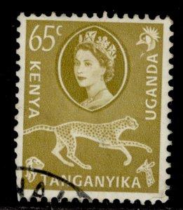 KENYA UGANDA TANGANYIKA QEII SG191, 65c yellow-olive, FINE USED.