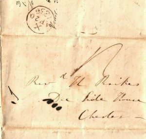 GB Cheshire Cover *Dee House* Chester Cross-written EL Letter 1836 EP61