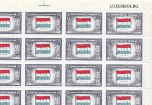 Doyle's_Stamps: MNH Sheet of 1943 Overrun Nations' Luxembourg, Scott #912**