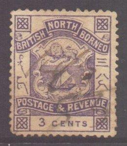 North Borneo Scott 38 - SG39, 1888 Arms 3c cto / fiscally used