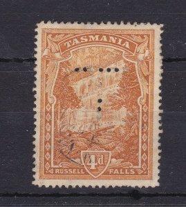 T31) Tasmania 1899-1900 Pictorials 4d Deep orange-buff perf 14, punctured 'T'
