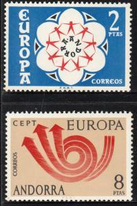 ANDORRA (SPANISH) 75-76.EUROPA..LITTLE FOXING ON REVERSE. MNH. F-VF. (100)