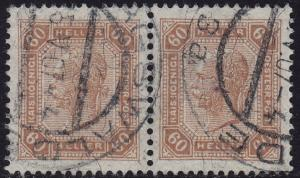 Austria - 1905 - Scott #104 - used pair - Franz Josef