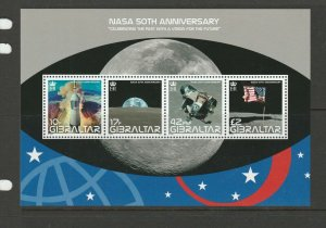 Gibraltar 2008 50th Anniv of NASA MS UM/MNH SG MS1291